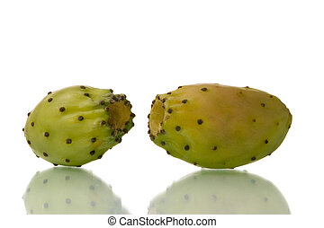 cactus pear fruits isolated over white background