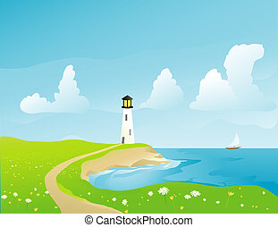 Coastal Lighthouse - Illustration of a lighthouse on the...