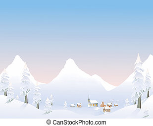 Winter mountain village - Mountain villiage in the winter