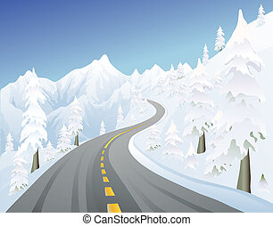 winter mountain road - snowy mountain road in the winter
