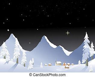 Mountain village night