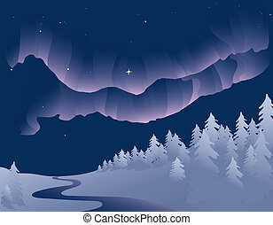 Northern Lights - Vector based illustration of the Northern...