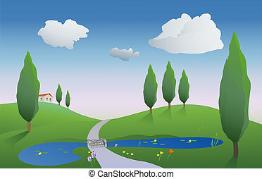 spring countryside - illustration of countryside on a spring...