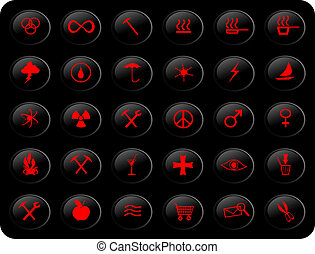 Black and red buttons - web buttons, with various signs and...