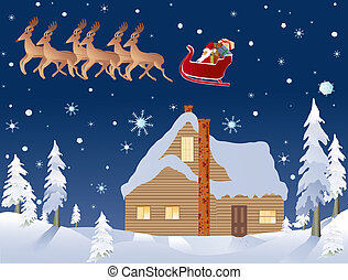 santa, reindeer, and a cabin in the woods on Christmas Eve