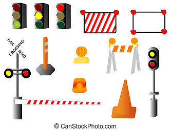 signs and signals - illustration of various traffic and...