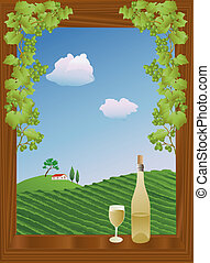 summer vineyard - window with a view of a vineyard in...