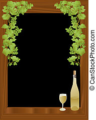 Wine and black background - vector based illustration of a...