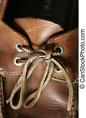 Boat Shoe laces - A close up of a deck shoe with laces