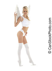 lingerie angel blond in white stockings - picture of...
