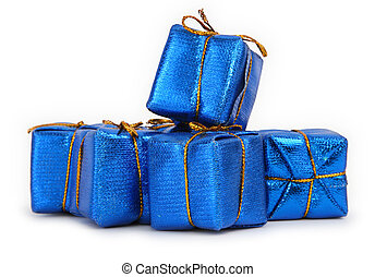 blue gifts - group of blue toy gifts against white...