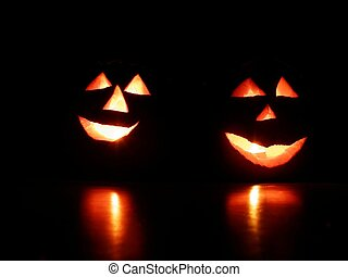 Halloween pumpkins ready for trick or treat