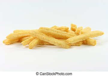 yallow cheese snacks - closeup of crunchy yellow cheese...