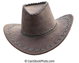 cowboy\'s, sombrero, encima, blanco