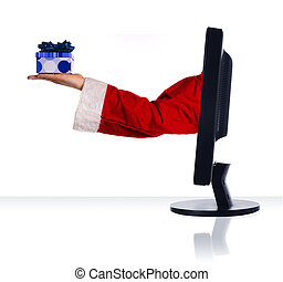 Internet present - santa clause giving a present via the...