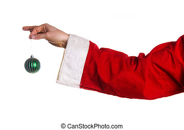 Xmas ornament - Santa hand holding a green xmas tree ball