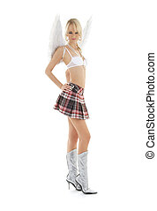 lingerie angel blond in checkered skirt - picture of...