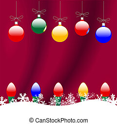 Chrismas Ornaments & Snowflakes on Red