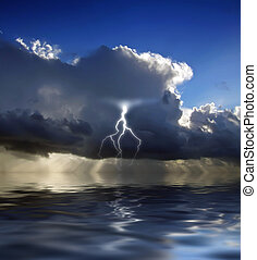 Lightning - Clouds looming over the horizon with rays...