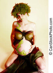 Artistic Maternity Portrait - Artistic maternity portrait of...