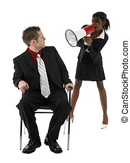 Angry Boss - Angry young woman in suit yelling at man...