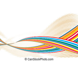 rainbow ride flow - Illustrated rainbow ride with halftone...