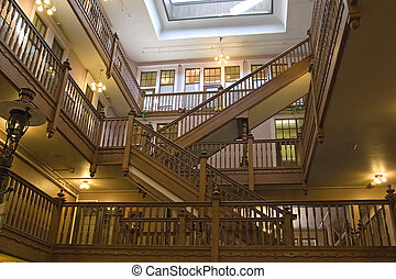 Interior Staircases - Interior shot of open retail area with...