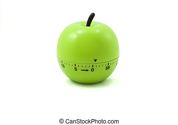 kitchen timer  - green apple like timer isolated on white