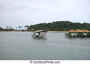 floating vilage and bungalows in koh chang island thailand