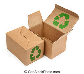 cardboard boxes with recycle symbol - two cardboard boxes...