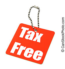 tax free price tag against white background