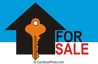 For Sale Blue - House for Sale with Key to the House