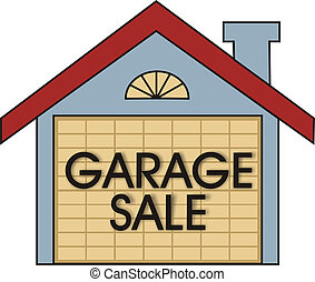Garage Sale - Big garage sale sign on the garage door