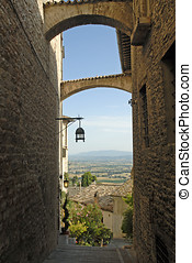 Assisi, Italy - beautiful view looking out on the Italian...