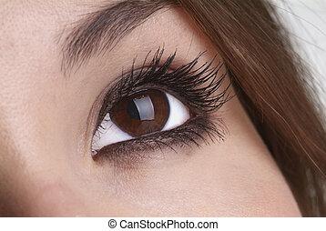 open eye - right eye open with glitter eyeshadow