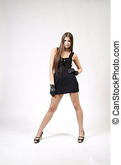 woman in short dress - woman in black short dress and...