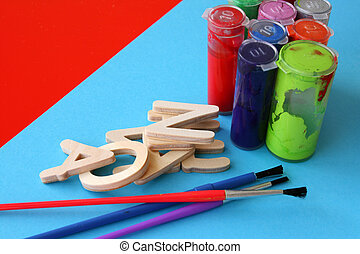 Arts and Crafts - Arts and crafts paint, brushes and wooden...
