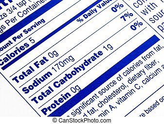 No fat - Close up of a nutritional label centered on fat...