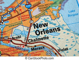 New Orleans - Map centered on the city of New Orleans....