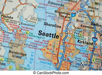 Seattle - Map centered on the city of Seattle. Shallow depth...