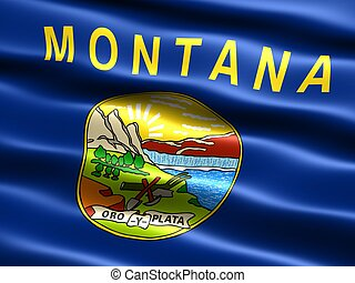 State flag: Montana - Computer generated illustration of the...