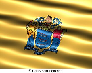 State flag: New Jersey - Computer generated illustration of...