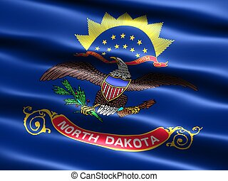 State flag: Nort Dakota - Computer generated illustration of...