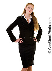 Business woman - Attractive young blond woman wearing a...