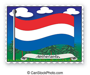 Stamp Netherlands - Stamp with flag from Netherlands