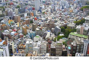 Tokyo Cityscape - Multi story colorful buildings in Tokyo...