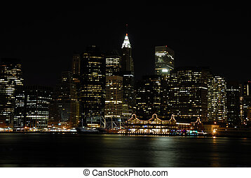 NY Skyline - Beautifuly lit NY skyline at the night