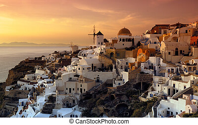 The village of Oia, Santorini, Greece - The beautiful and...