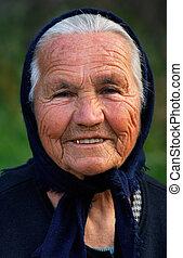 viejo, griego, dama