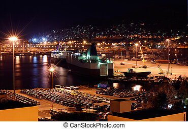 The port of Piraeus - Image shows a part of the port of...